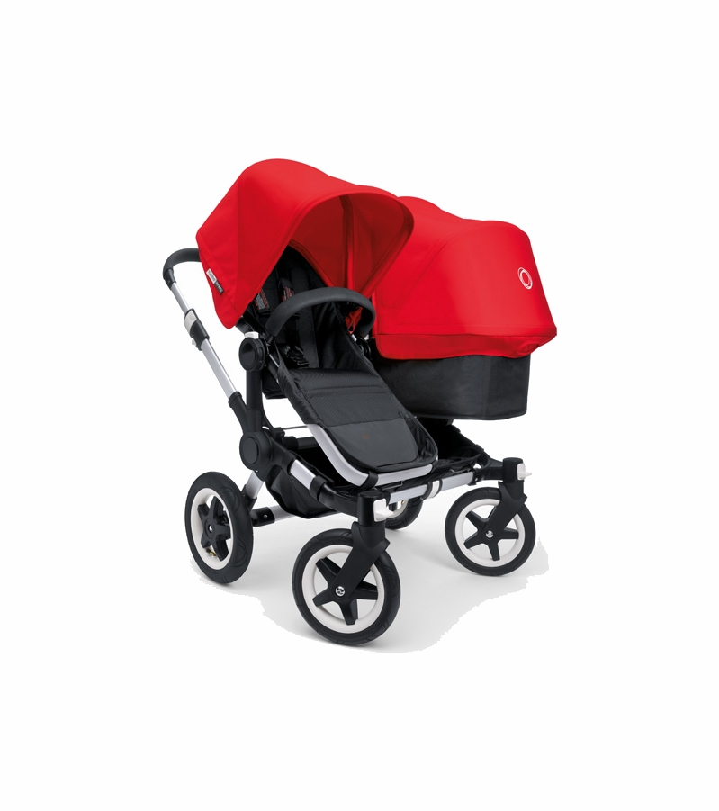 bugaboo donkey compact fold duo stroller in black red. Black Bedroom Furniture Sets. Home Design Ideas