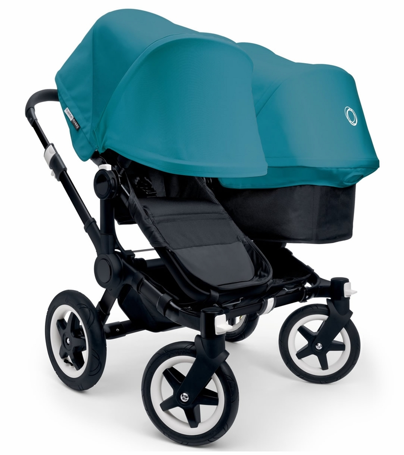 bugaboo donkey duo stroller extendable canopy 2015 all black petrol blue - Black Canopy 2015