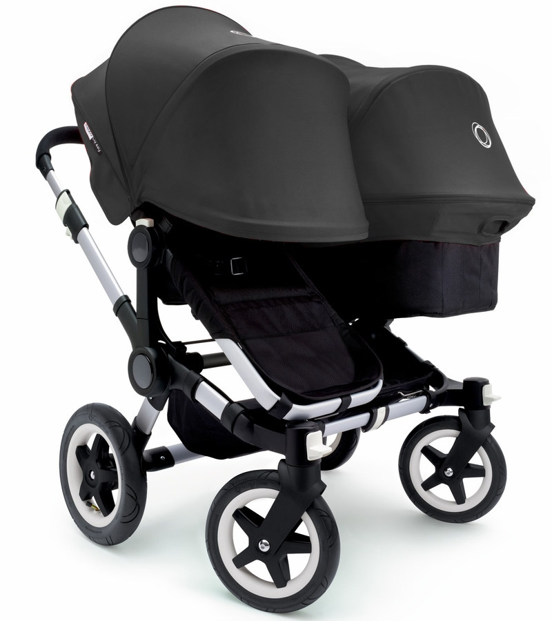 bugaboo donkey duo stroller extendable canopy 2015 aluminium black black. Black Bedroom Furniture Sets. Home Design Ideas