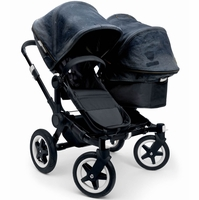 Bugaboo Donkey Duo Stroller in All Black/Diesel Denim