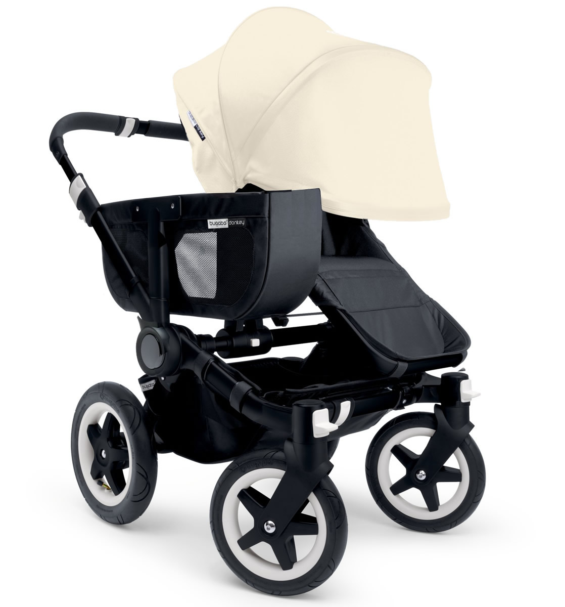 Bugaboo Donkey Mono Stroller, Extendable Canopy - 2015 - All Black/Off White