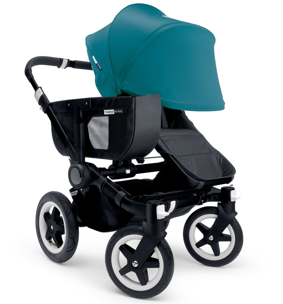 Bugaboo Donkey Mono Stroller, Extendable Canopy - 2015 - All Black/Petrol Blue