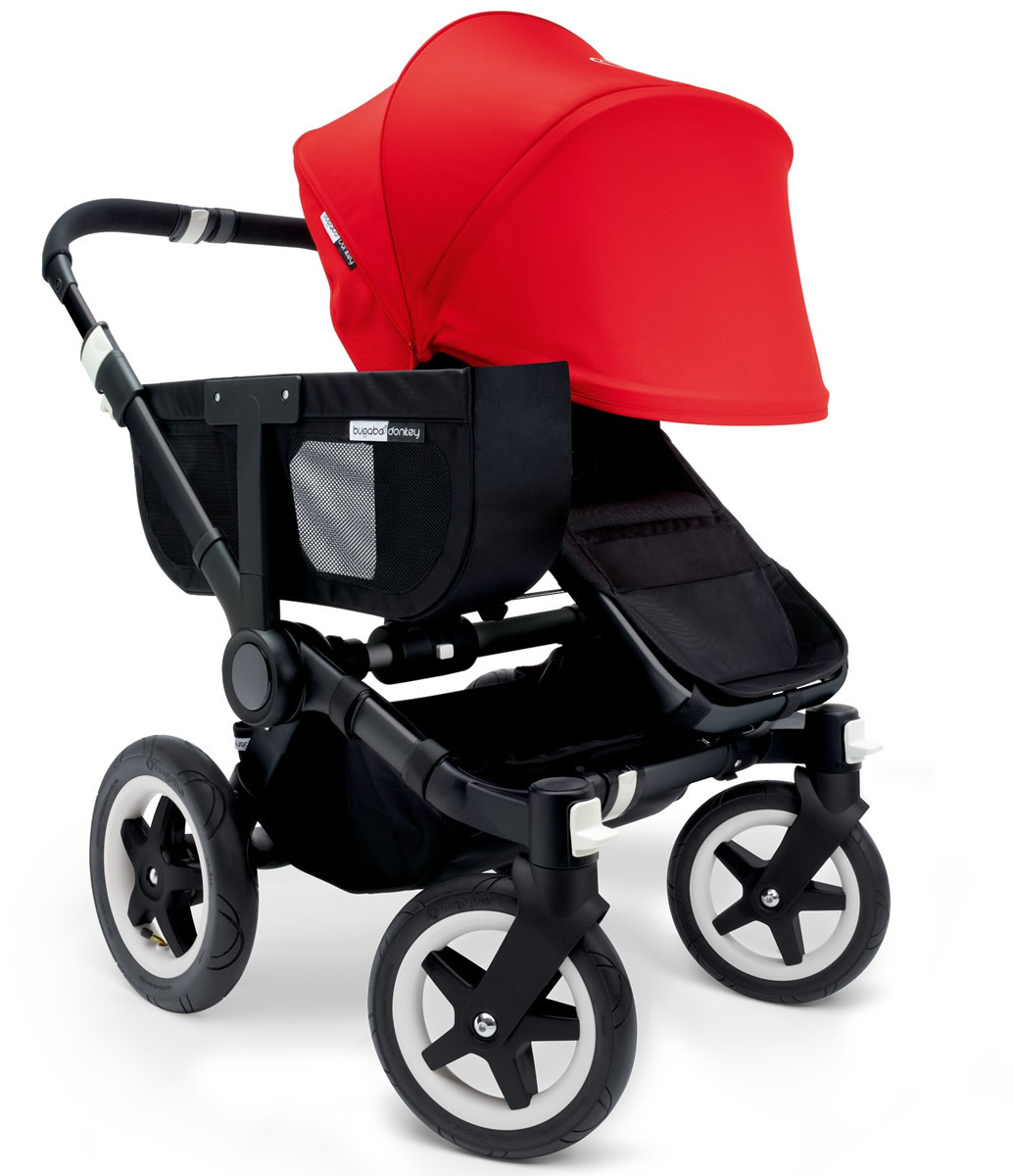 Bugaboo Donkey Mono Stroller, Extendable Canopy - 2015 - All Black/Red