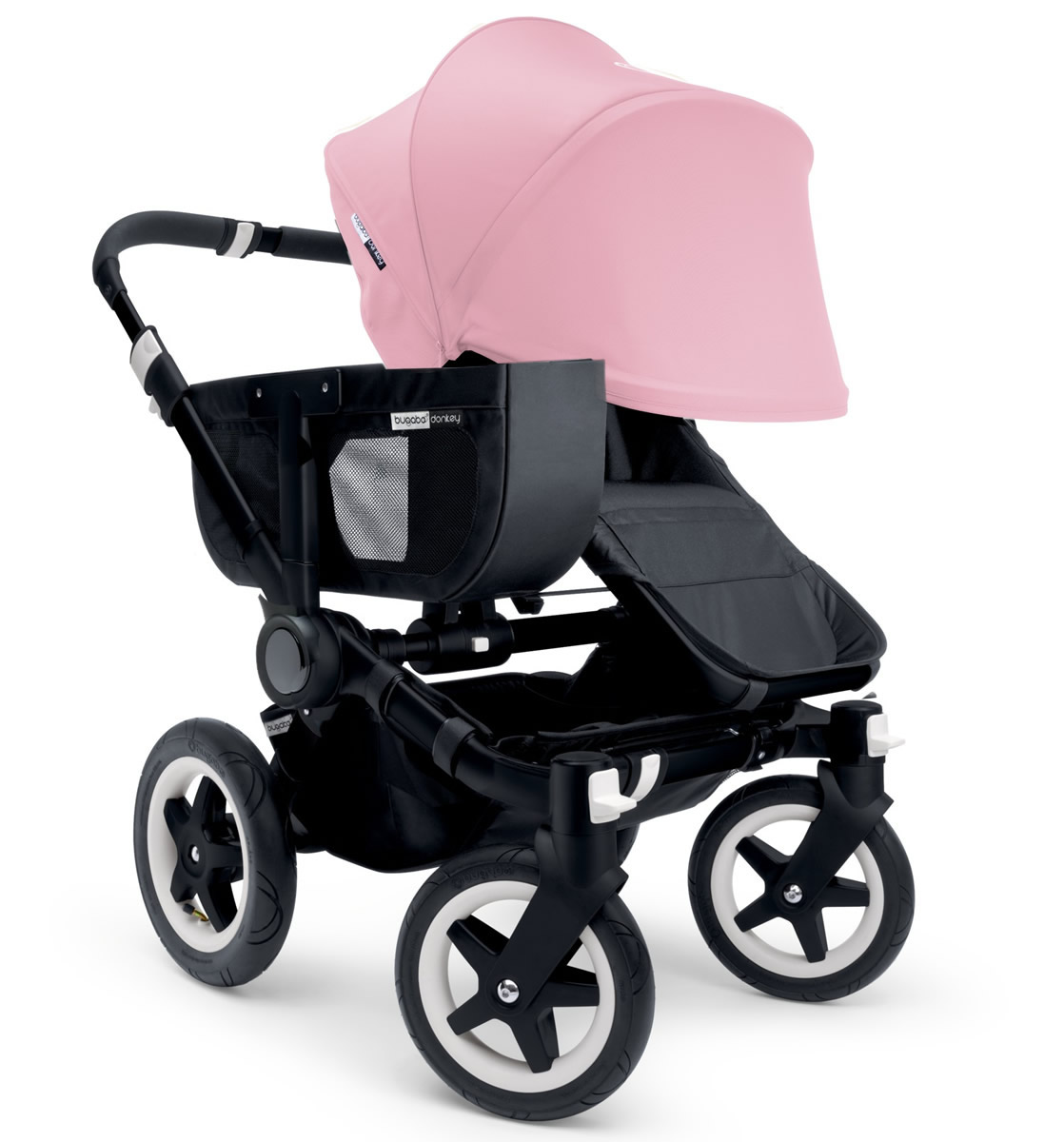 Bugaboo Donkey Mono Stroller, Extendable Canopy - 2015 - All Black/Soft Pink