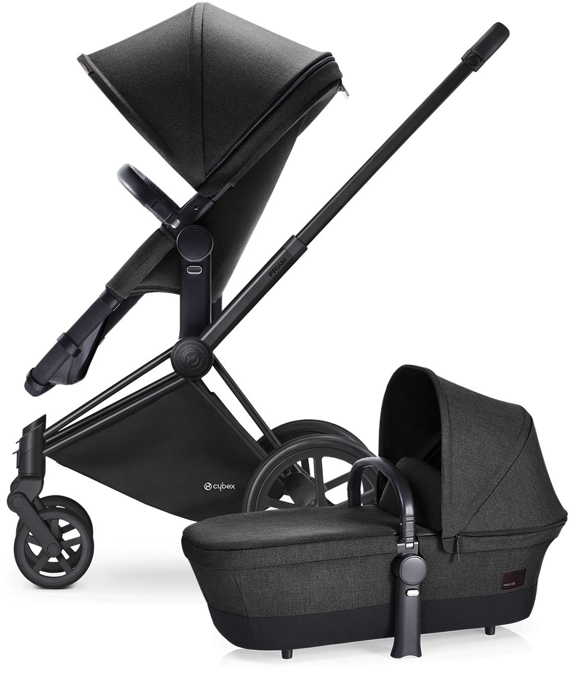 Avocent Priam 2-in-1 City Stroller - Matte Black/Black Be...