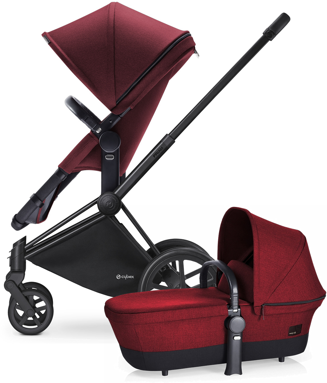 Avocent Priam 2-in-1 City Stroller - Matte Black/Hot & Spicy