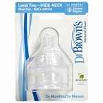 Dr. Brown's Level-2 Wide Neck Nipple, 2-Pack