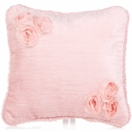 Glenna Jean Anastasia Pink Velvet Throw Pillow with Flower