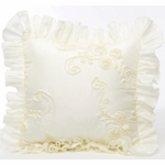 Glenna Jean Ava Cream Ribbon with Ruffle Pillow