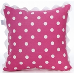 Glenna Jean Ellie & Stretch Throw Pillow - Pink Dot with Rick Rack