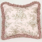 Glenna Jean Madison Pink Toile with Fringe Pillow