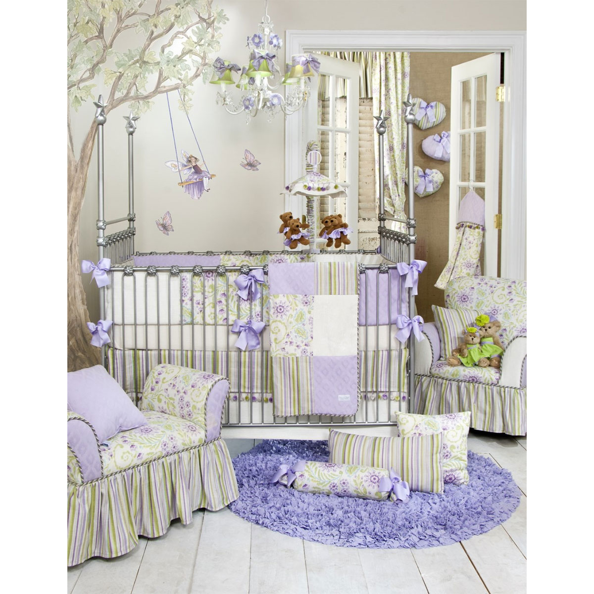 crib mint cribs set bedding bed mermaid girl products baby sets collections purple and