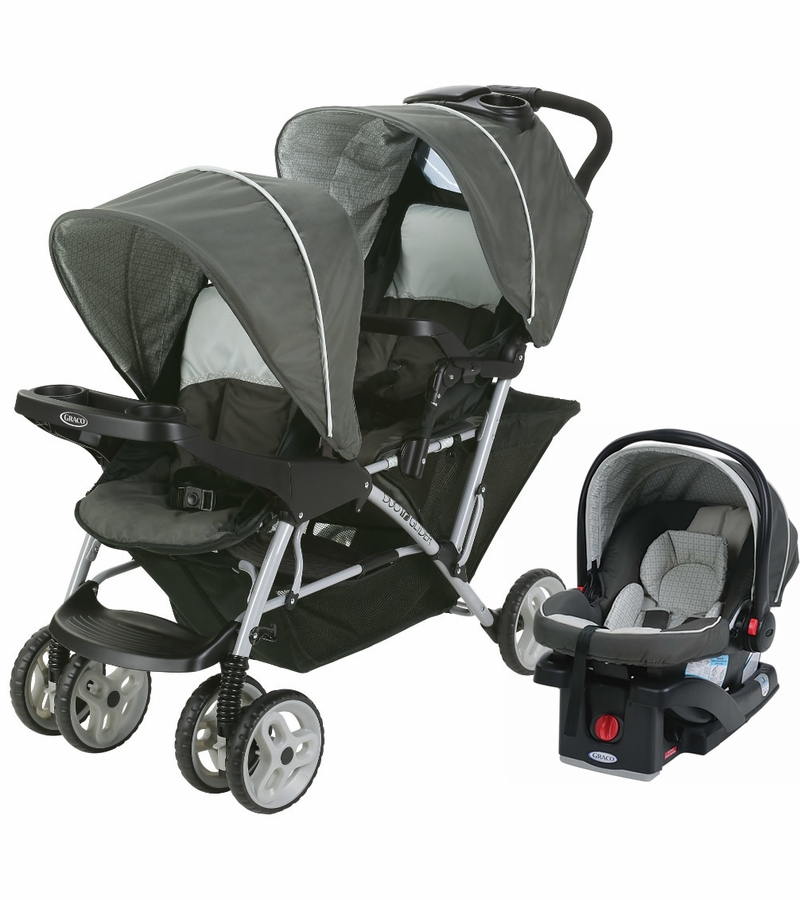 graco duoglider click connect double stroller with car seat glacier. Black Bedroom Furniture Sets. Home Design Ideas