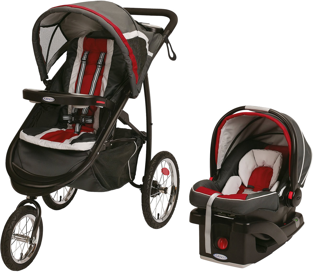 Graco FastAction Fold Jogger Click Connect Travel System Jogging Stroller, Chili Red