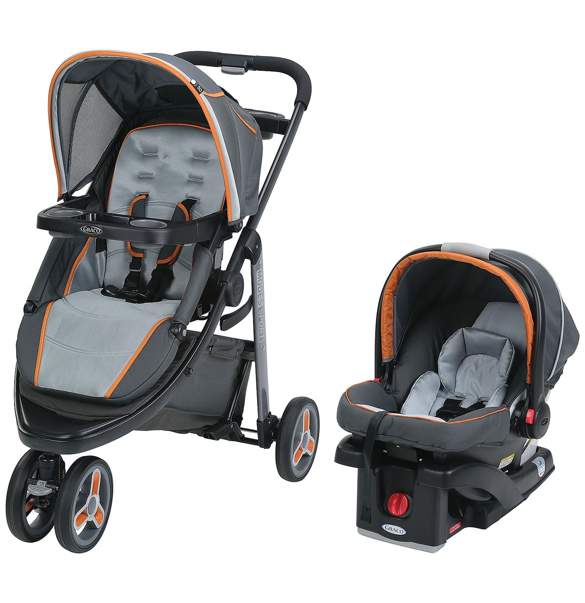 Graco CHILDREN S PRODUCTS 1965236 GRACO BABY MODES SPORT CLICK CONNECT TRAVEL SYSTEM TANGERINE