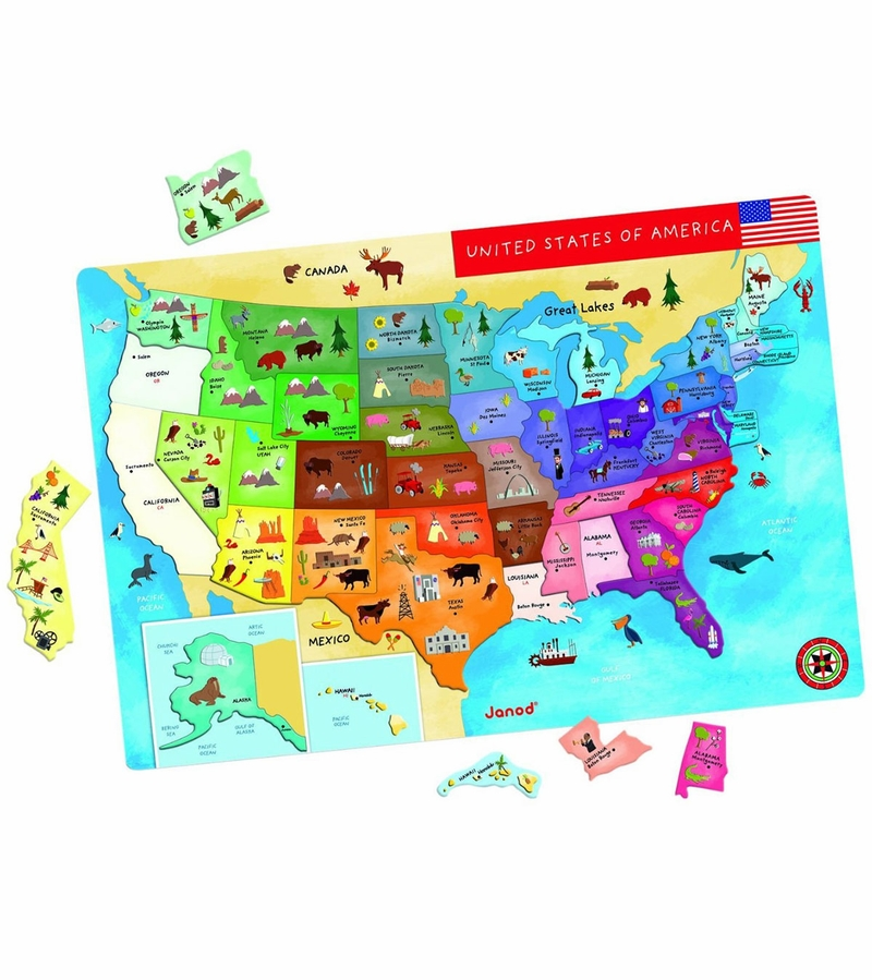 Janod Magnetic USA Map - Magnetic us map puzzle janod