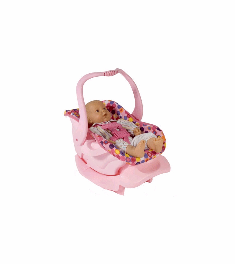 joovy doll or stuffed toy car seat in pink dot