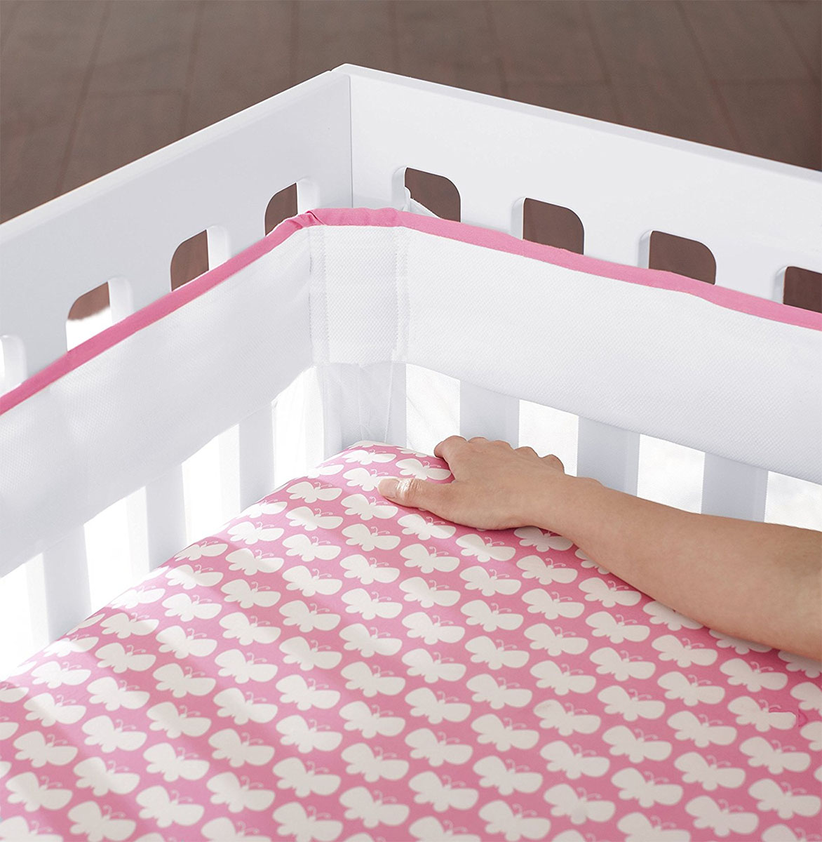 Just Born Fresh Air Crib Liner Pink
