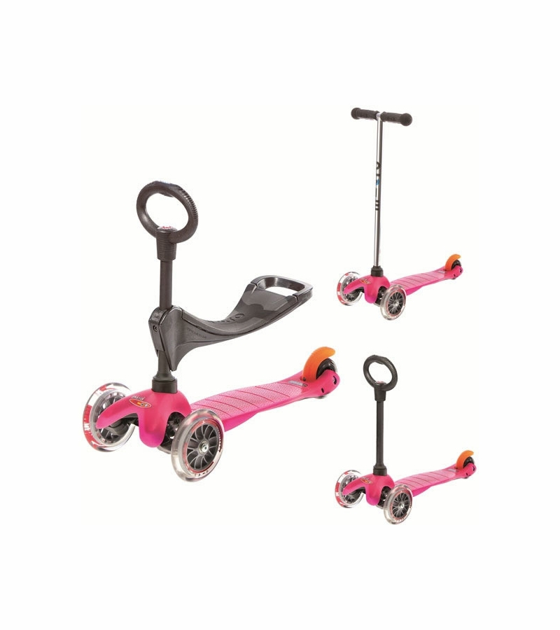 micro kickboard mini micro 3 in 1 scooter in pink. Black Bedroom Furniture Sets. Home Design Ideas