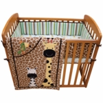 Lambs & Ivy Peek A Boo Jungle 3 Piece Mini Crib Set