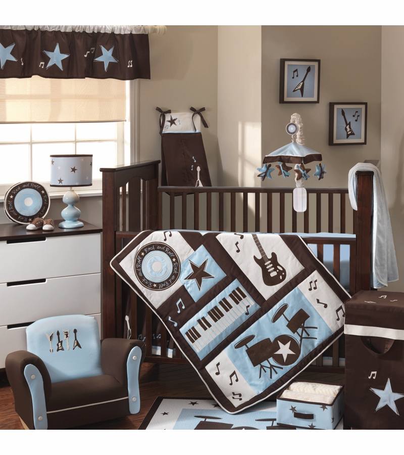 Lambs ivy rock n 39 roll 5 piece crib bedding set for Rock n roll baby crib set