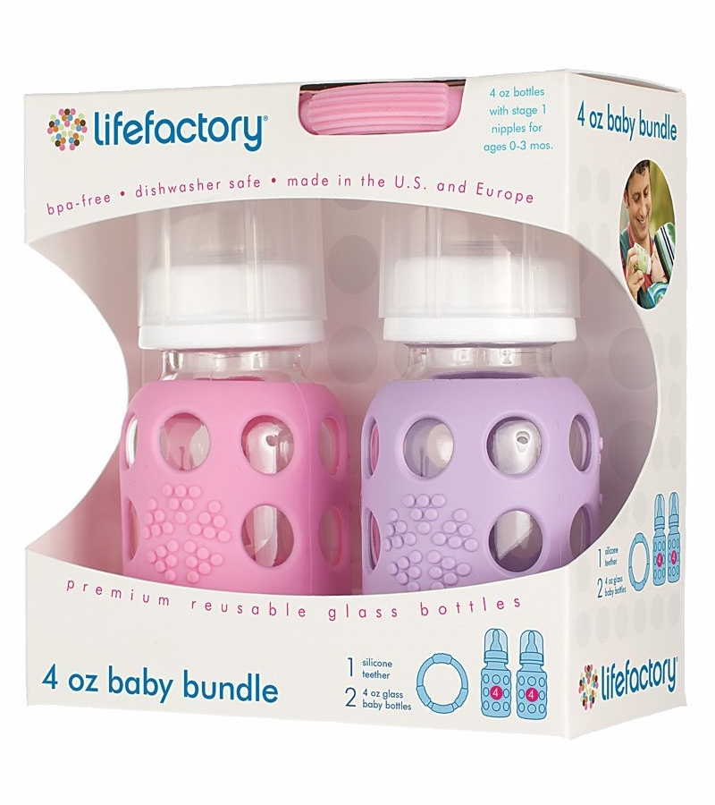 Lifefactory Glass Baby Bottle Gift Set, 4 oz - Pink/Lilac