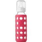 Lifefactory Glass Baby Bottle with Silicone Sleeve 9 oz in Raspberry