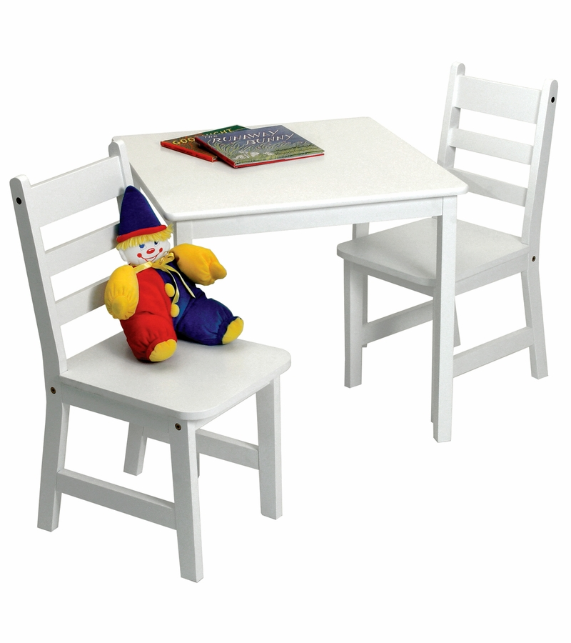 lipper international child 39 s square table chairs 3 piece set white. Black Bedroom Furniture Sets. Home Design Ideas