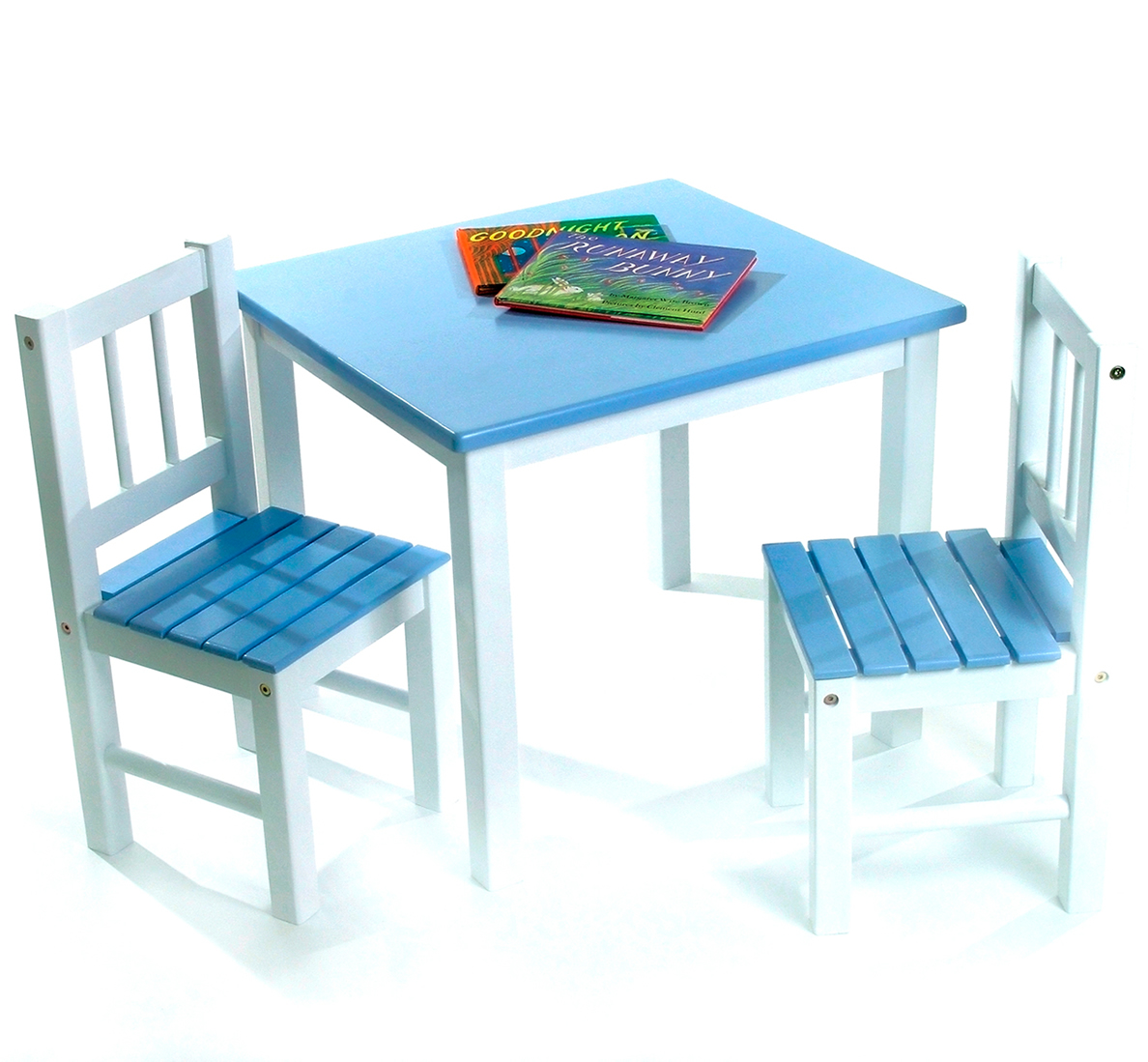 lipper international kids 39 table chair set in blue and white 513bl. Black Bedroom Furniture Sets. Home Design Ideas