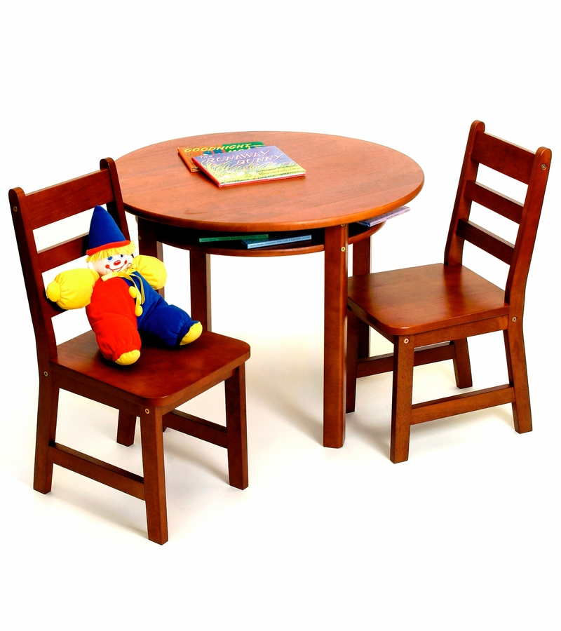 lipper round table with shelf 2 chairs cherry