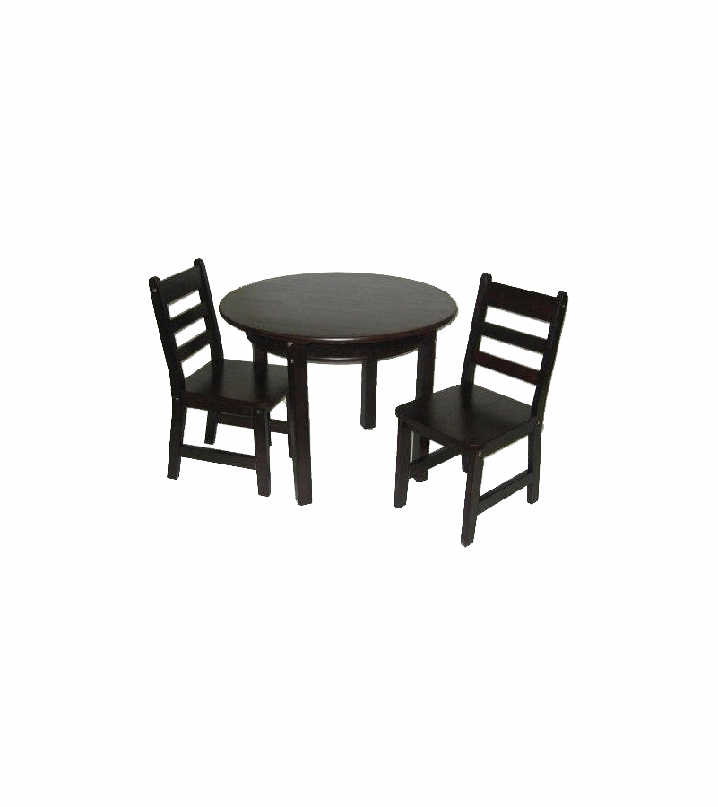 lipper round table with shelf 2 chairs espresso