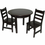 Lipper Round Table with Shelf & 2 Chairs Espresso