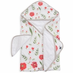Little Unicorn Cotton Hooded Towel & Washcloth - Summer Poppy