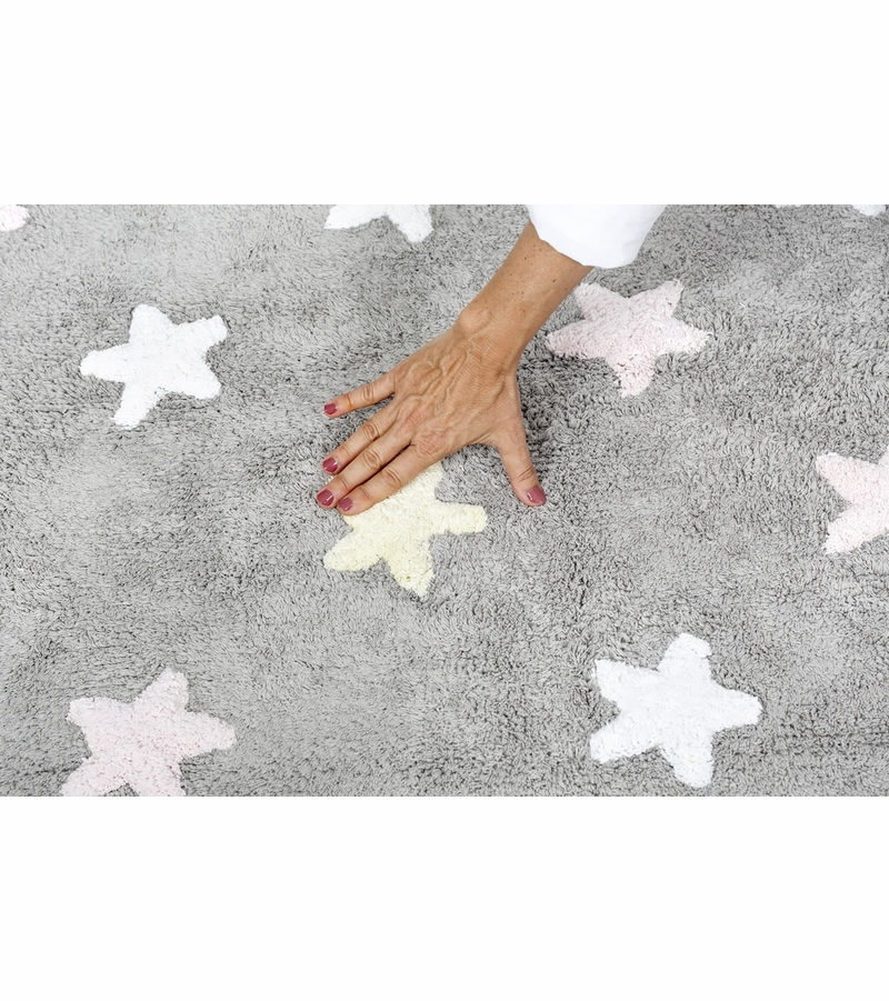 lorena canals tricolor stars rug grey pink 4 39 x 5 39 3. Black Bedroom Furniture Sets. Home Design Ideas
