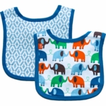 Magnificent Baby Boy's Elephant On Parade/El Marrakesh Reversible Bib - 0 to 6 Months
