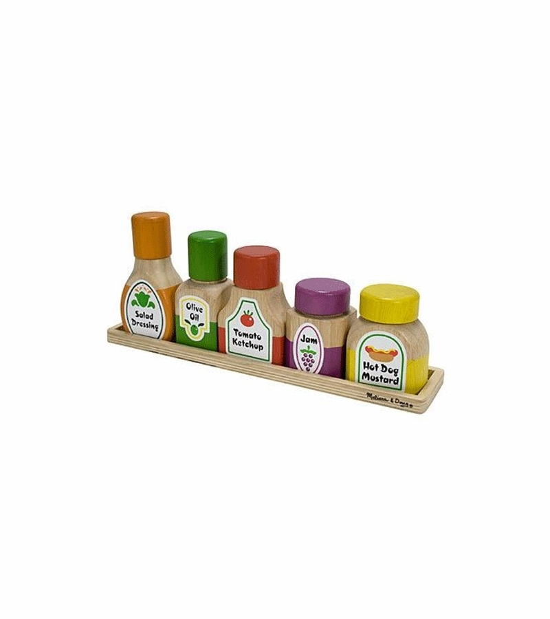 Melissa And Doug Play Kitchen | Melissa Doug Deluxe Wooden Magnetic Kitchen Bottle Collection