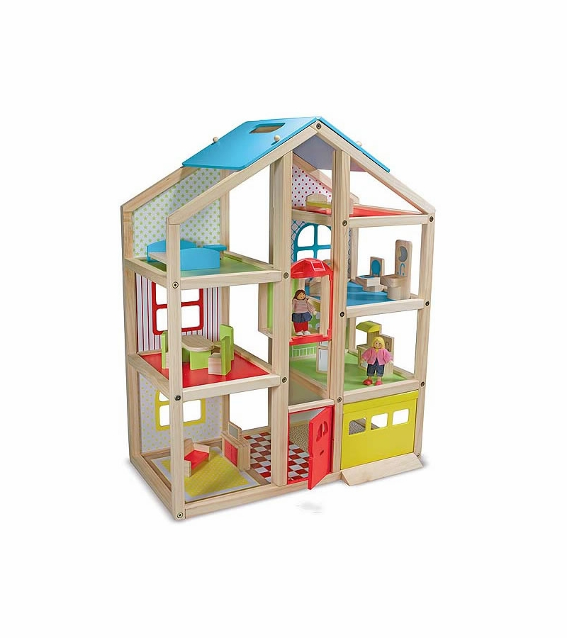 Melissa doug hi rise wooden dollhouse and furniture set Dollhouse wooden furniture