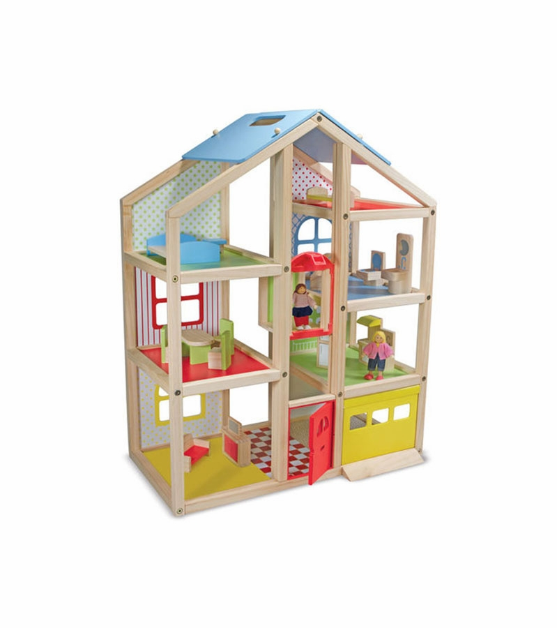 Melissa Doug Hi Rise Wooden Dollhouse And Furniture Set