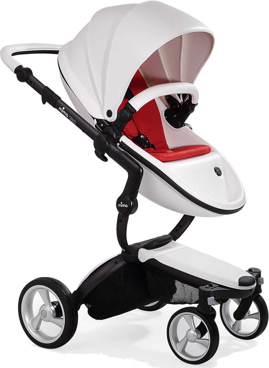 Mima Xari Complete Stroller, Black - Snow White / Red