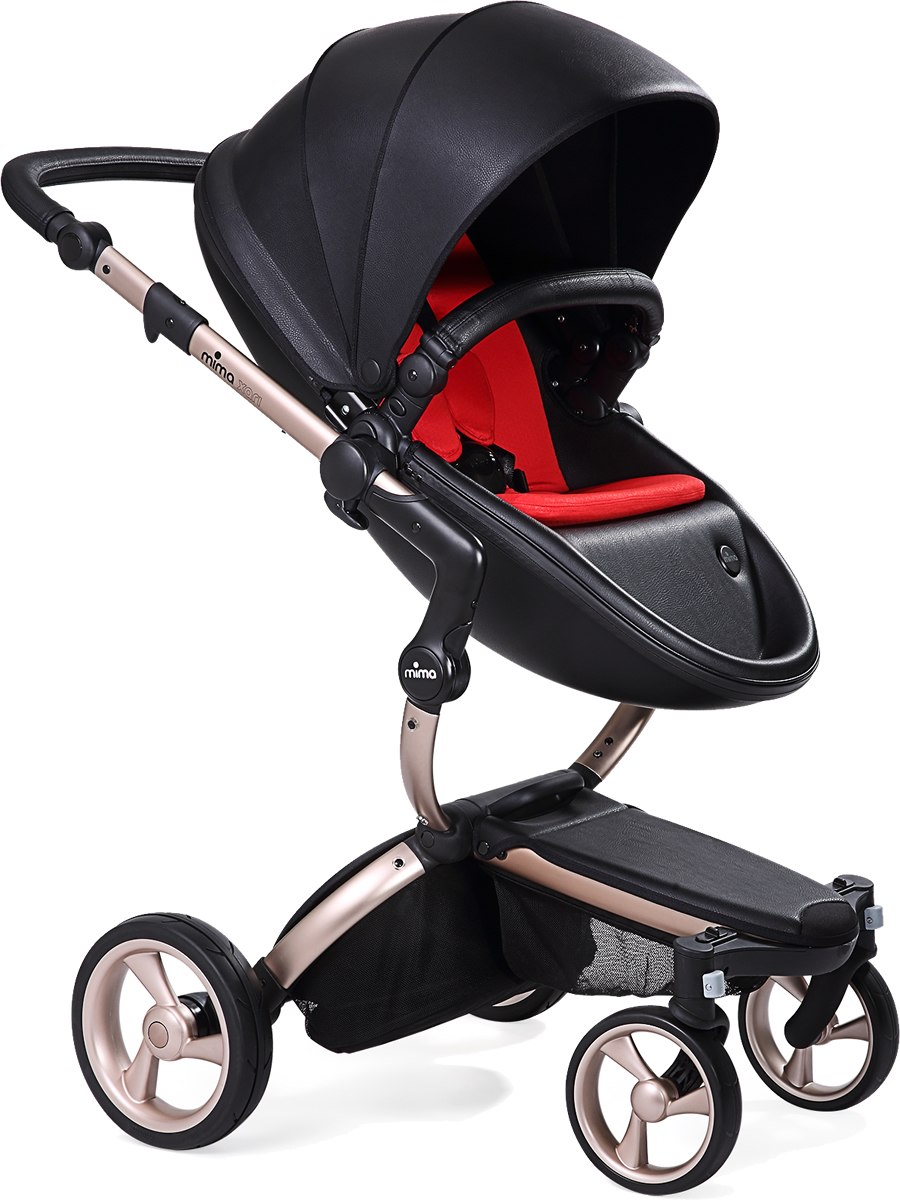 Mima Xari Complete Stroller, Rose Gold - Black / Red