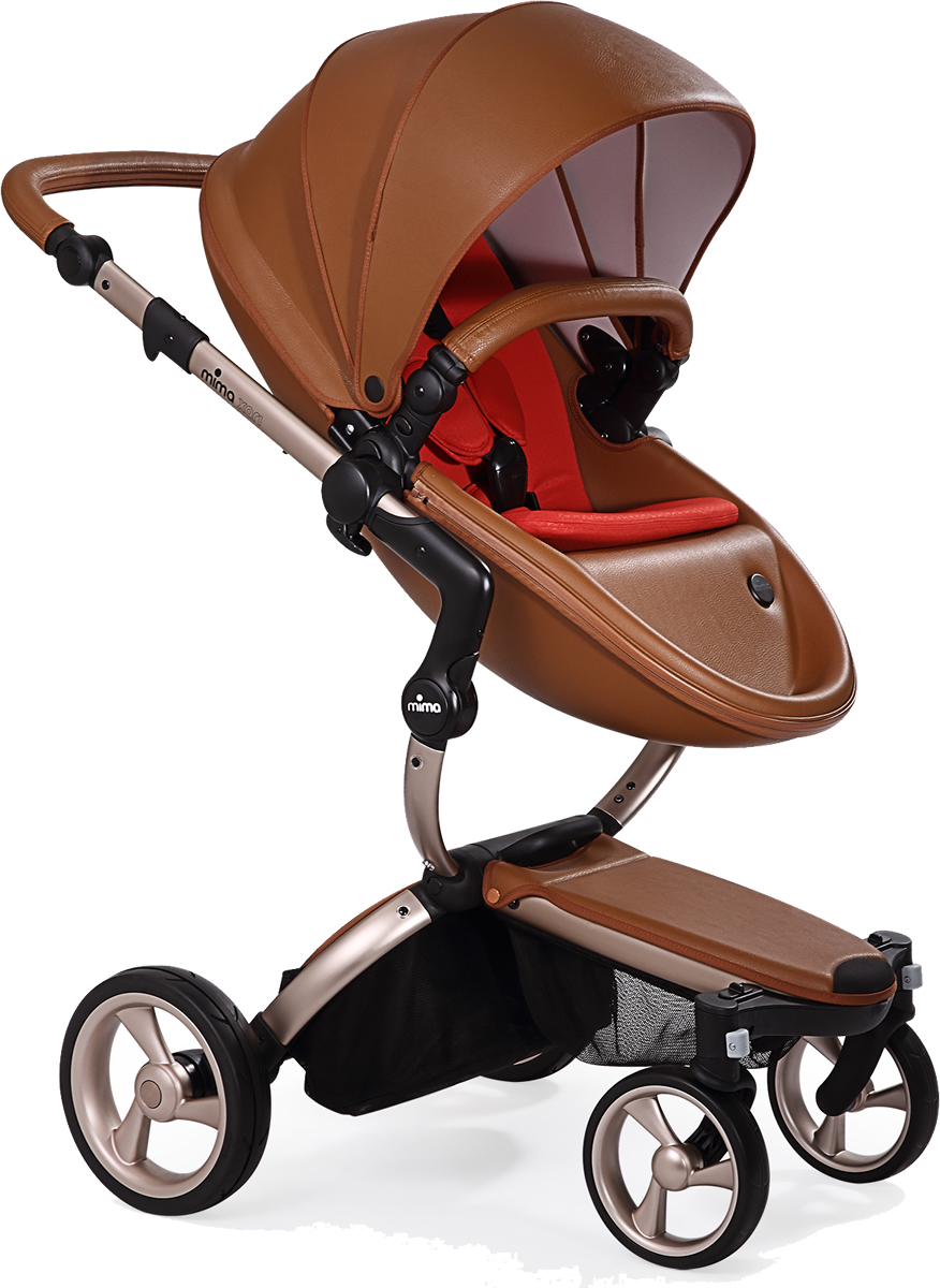 Mima Xari Complete Stroller, Rose Gold - Camel / Red