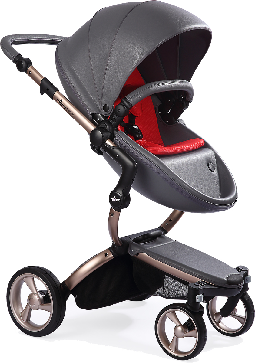 Mima Xari Complete Stroller, Rose Gold - Cool Grey / Red