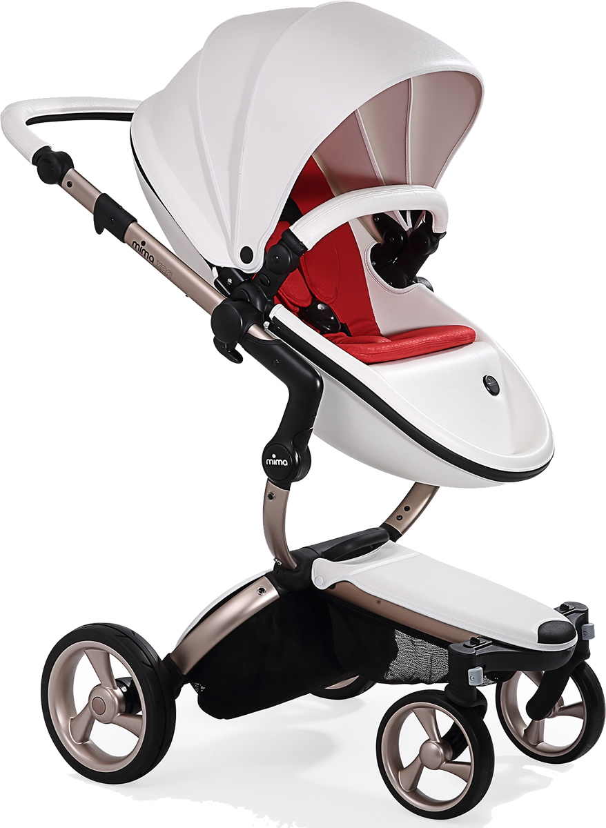 Mima Xari Complete Stroller, Rose Gold - Snow White / Red