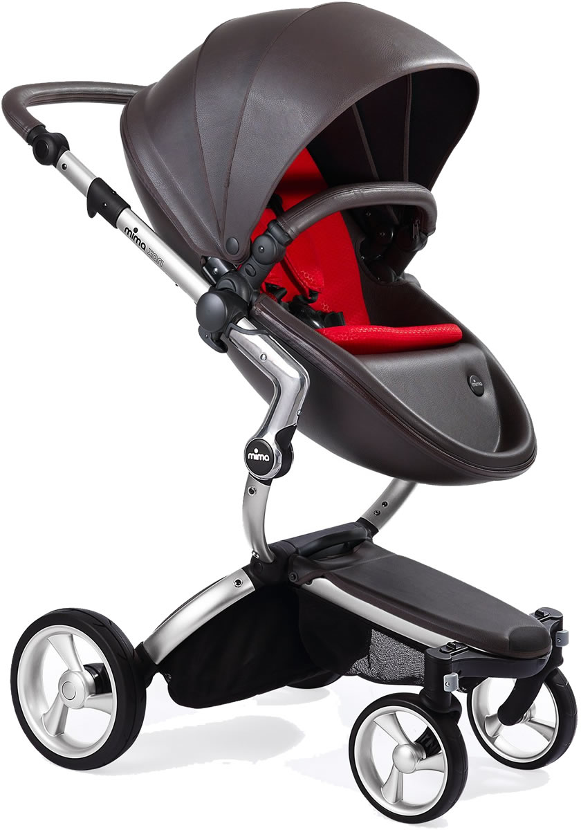Mima Xari Complete Stroller, Silver - Chocolate Brown / Red