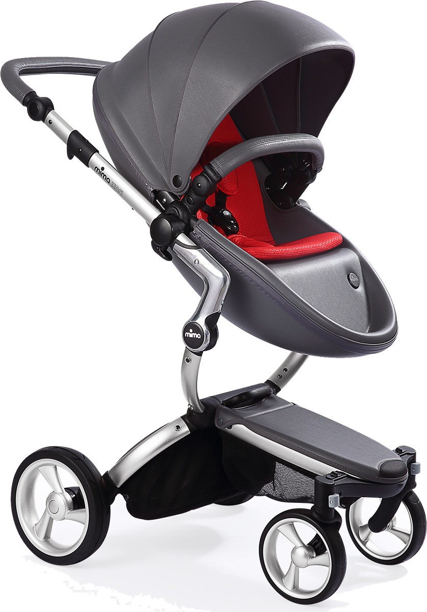 Mima Xari Complete Stroller, Silver - Cool Grey / Red