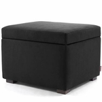 Monte Design Storage Ottoman in Bonded Leather Black