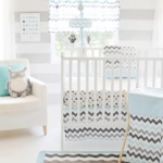 My Baby Sam Chevron Baby Aqua 3 Piece Crib Bedding Set