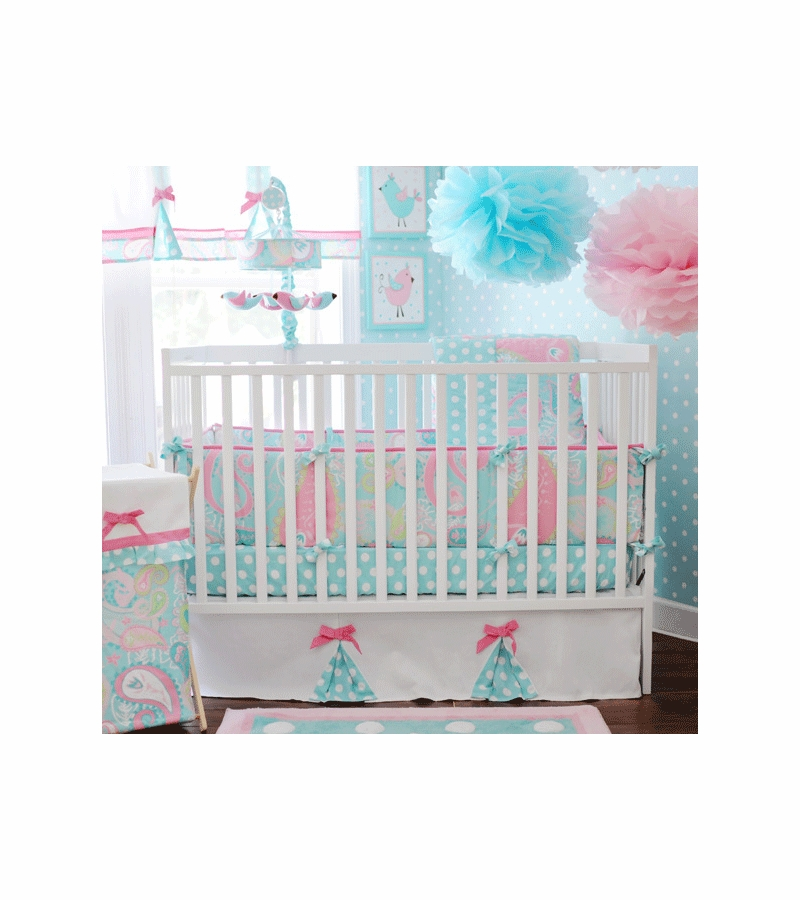 My Baby Sam Pixie Aqua 3 Piece Crib Bedding Set