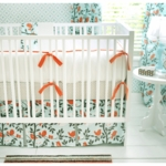 New Arrivals Feather Your Nest in Aqua 4 Piece Baby Crib Bedding Set
