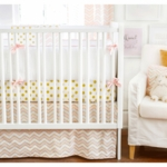 New Arrivals Gold Rush in Pink 3 Piece Crib Bedding Set